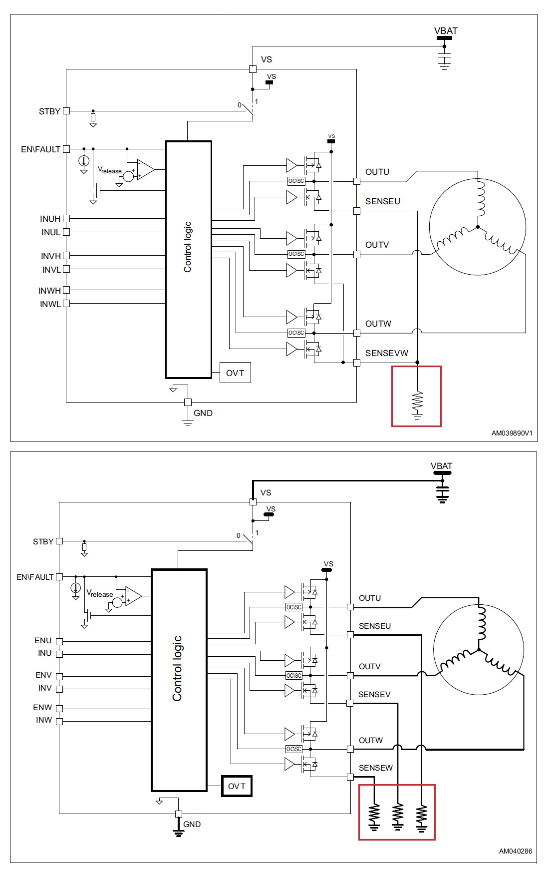 hight resolution of the figure below shows the block diagrams of these two devices along with their respective three shunt and single shunt current sensing methods in the red
