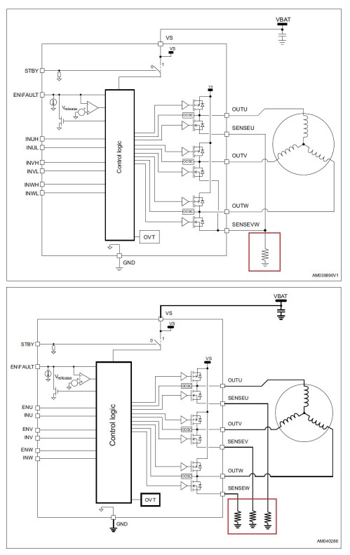 small resolution of the figure below shows the block diagrams of these two devices along with their respective three shunt and single shunt current sensing methods in the red