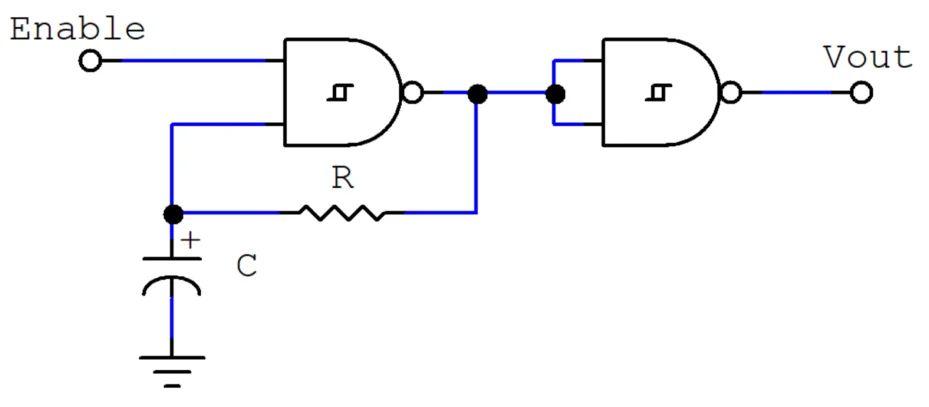 practical circuit of ic 555 as schmitt trigger vsa