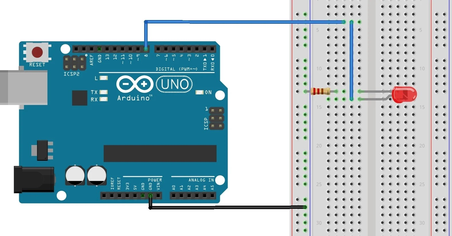 wiring diagram the figure above shows how to connect the led and the 220 ohm resistor to the arduino as shown the led connects to digital i o pin 8 of  [ 1577 x 825 Pixel ]