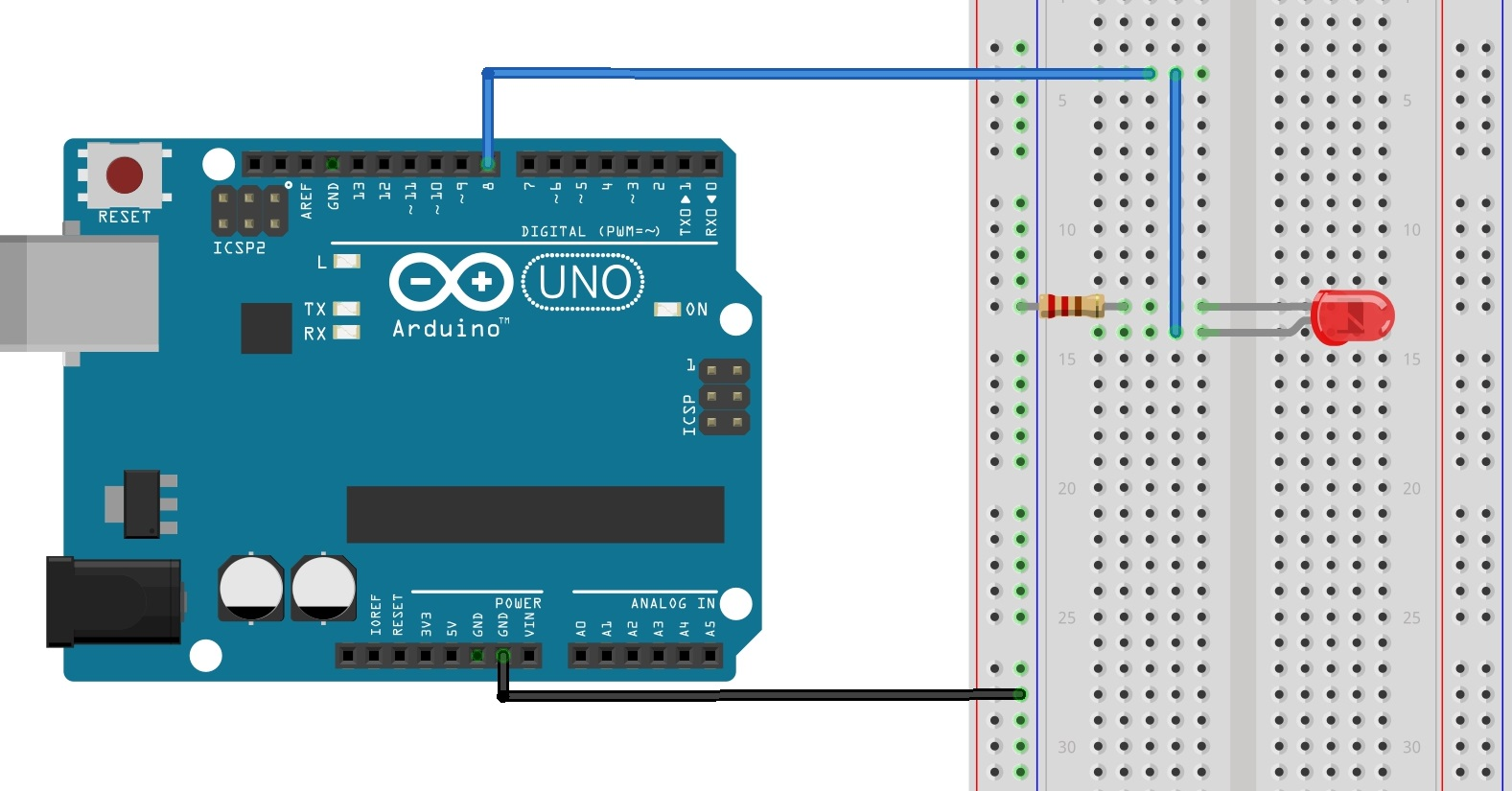 hight resolution of wiring diagram the figure above shows how to connect the led and the 220 ohm resistor to the arduino as shown the led connects to digital i o pin 8 of