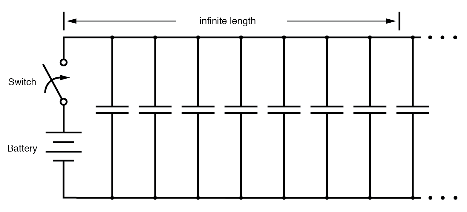 hight resolution of equivalent circuit showing stray capacitance between conductors