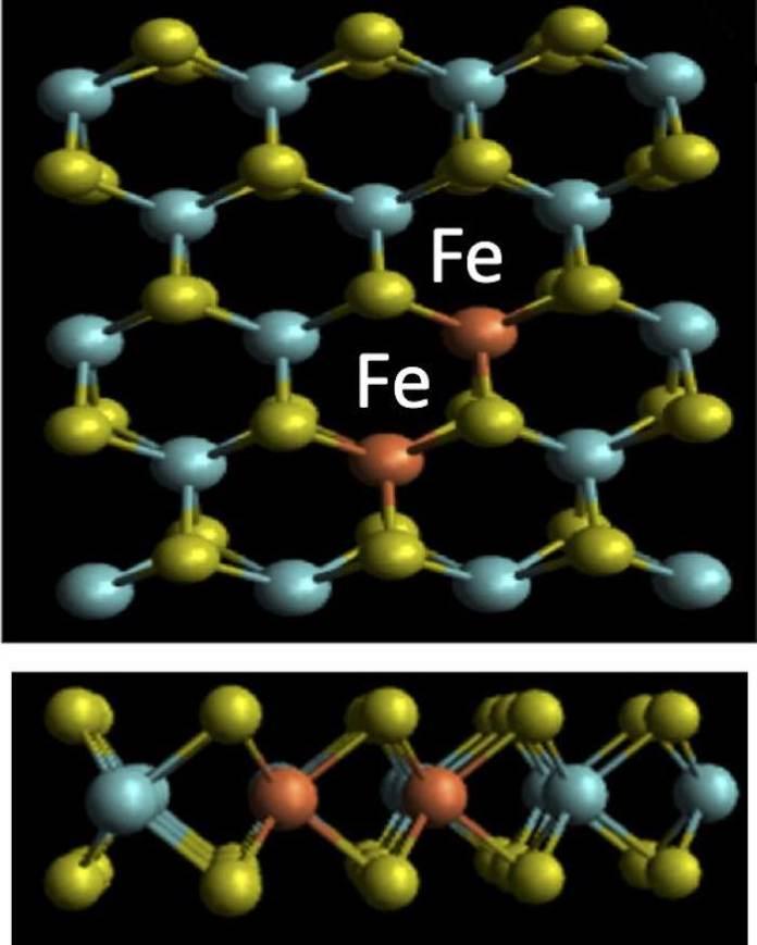 Ferromagnetic semiconductor atoms.