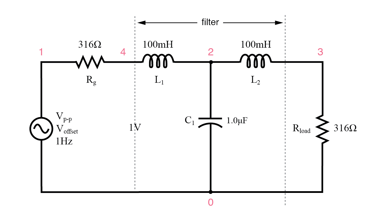 hight resolution of circuit of source and load matched l c low pass filter