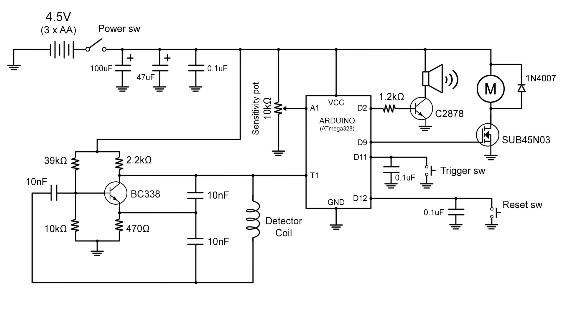 gold detector circuit diagram 1964 chevy truck color wiring build your own metal with an arduino