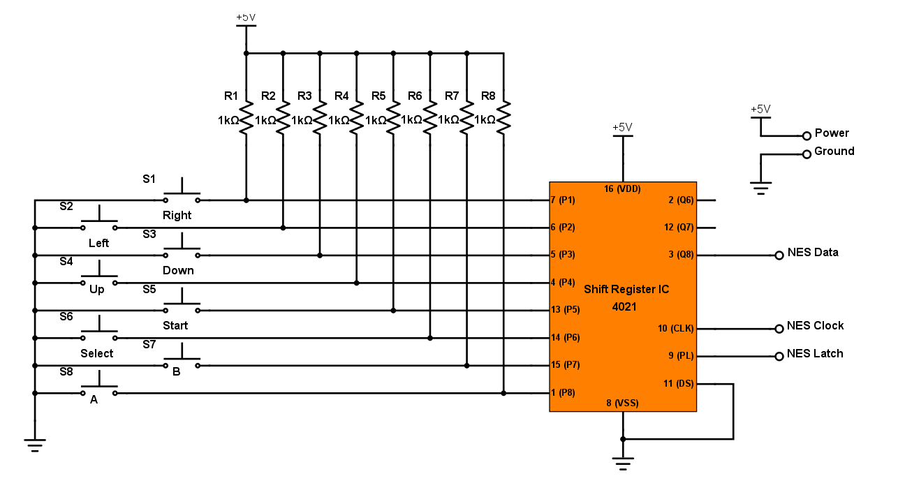 as you can see the 4021 is an 8 bit register which is just enough to have all eight of its buttons connected to it one side of each button is tied to  [ 1286 x 712 Pixel ]