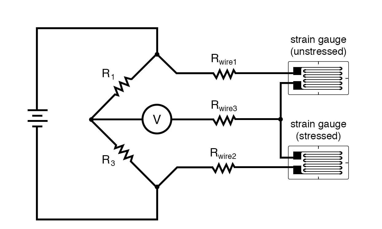 hight resolution of quarter bridge strain gauge circuit with temperature compensation diagram 2