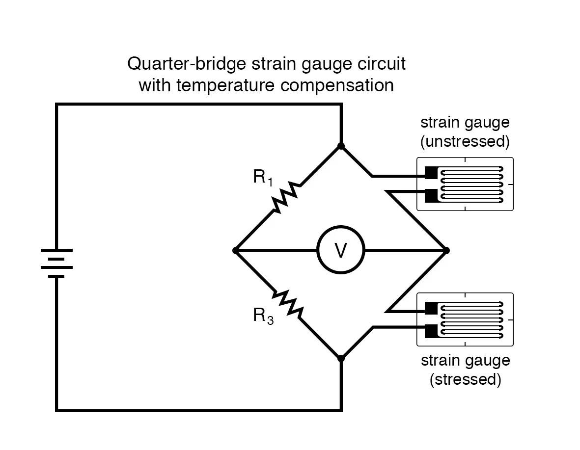 hight resolution of quarter bridge strain gauge circuit with temperature compensation