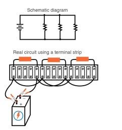 single battery three resistors parallel circuit terminal strip [ 913 x 954 Pixel ]