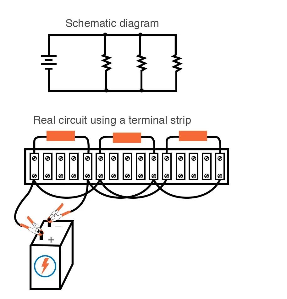 medium resolution of single battery three resistors parallel circuit terminal strip