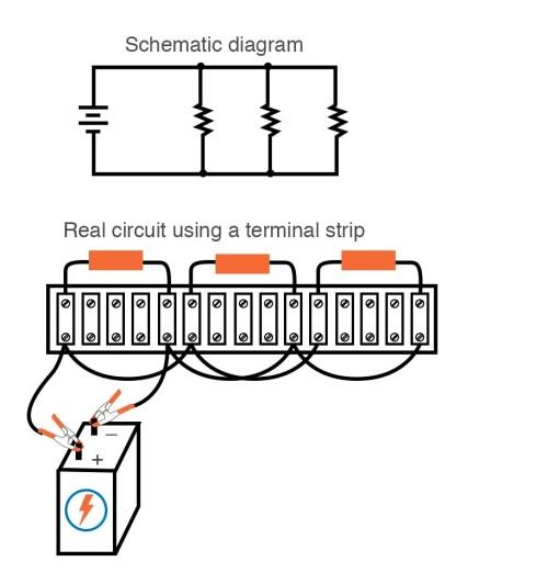 small resolution of single battery three resistors parallel circuit terminal strip