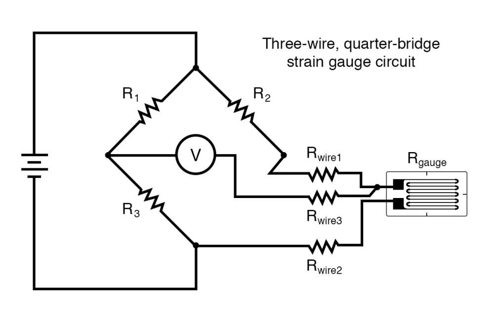 medium resolution of three wire quarter bridge strain gauge circuit