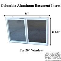 C-300-20 Aluminum Basement Window Insert, Single Pane Glass