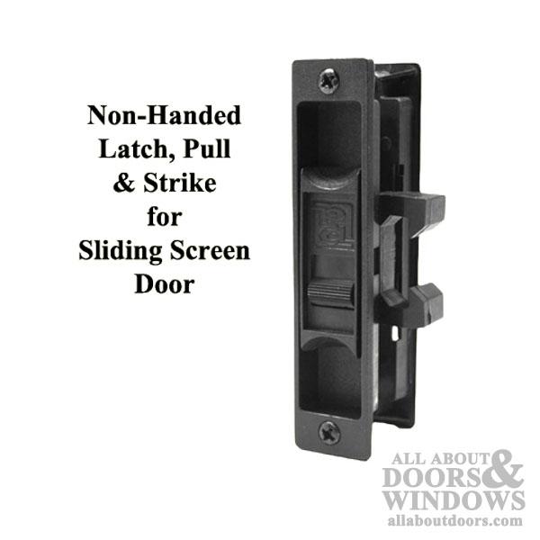 non handed latch pull strike for sliding screen door black