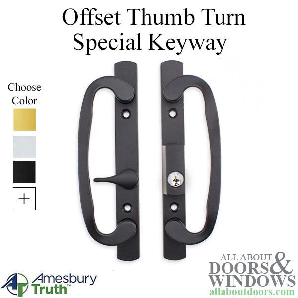 legacy glass sliding door handle keyed with offset thumbturn weiser keyway choose color