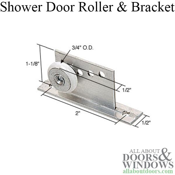 Shower Door Bracket w 34 inch Oval Roller Sliding Door