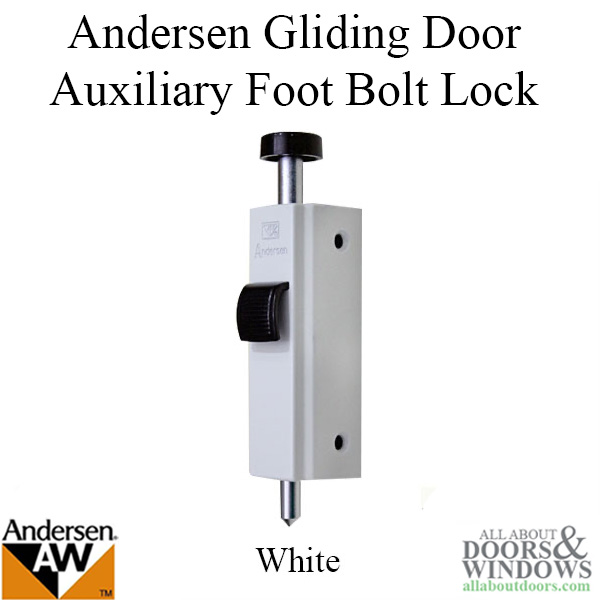 andersen auxiliary foot bolt lock for frenchwood gliding door white