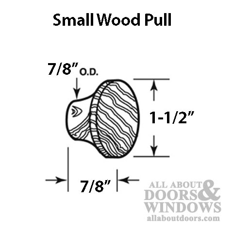 Pull Handle, Wood 1-1/2 inch Bi-Fold Door Knob