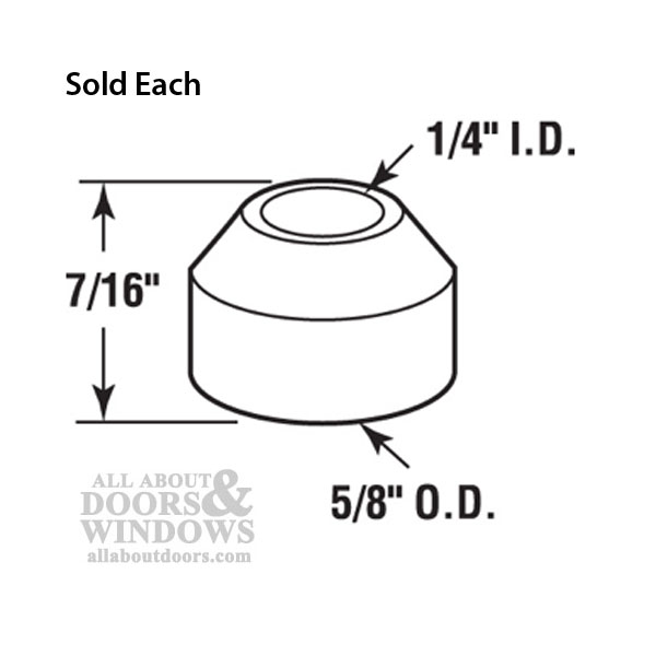 Pin Cap / Guide, 1/4 I.D., Nylon Replacement BiFold Door- Each