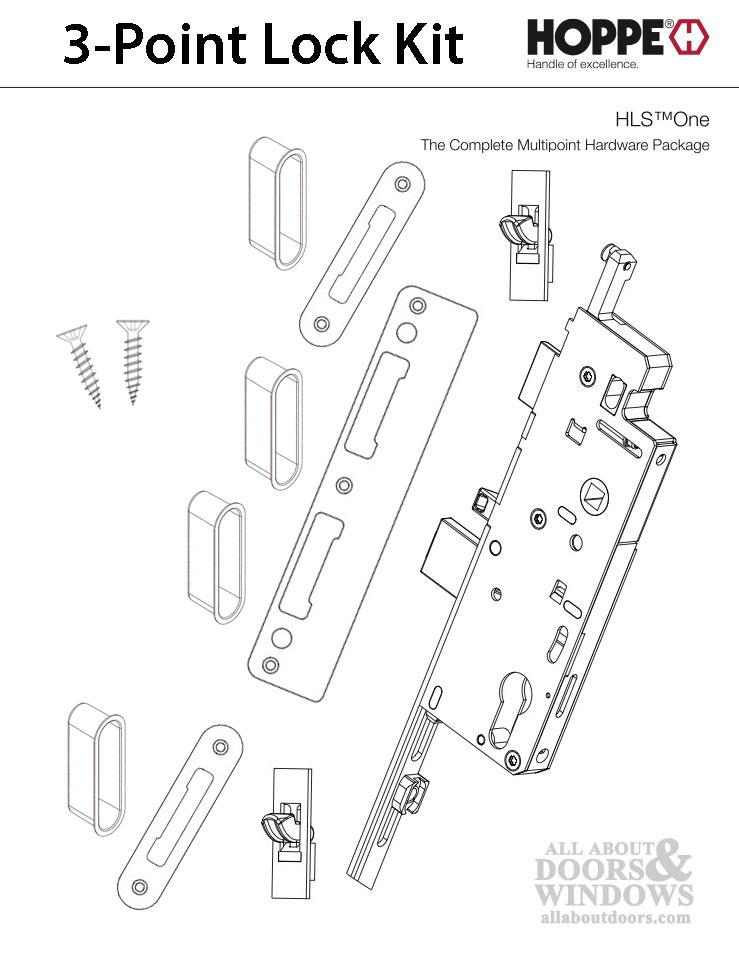 HLS-ONE 3-point Lock KIT, ACTIVE SYSTEM w/45MM backset