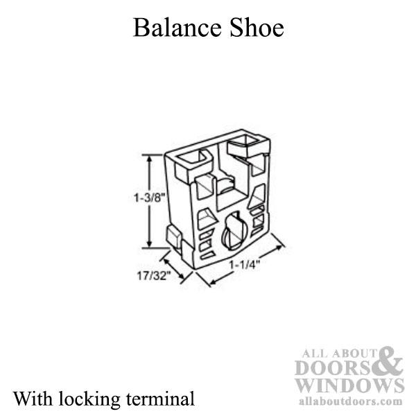 Balance Block, Pivot Lock Shoe for Tilt in window w