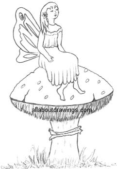 Pencil Drawing Of A Fairy