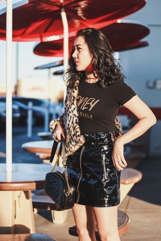 Leopard-Print-Jacket-Patent-Skirt-Winter-Outfit-Honey-Be-Yourself-Black-and-Gold-Graphic-Tee-Fashion-Blogger-@thevibescloset
