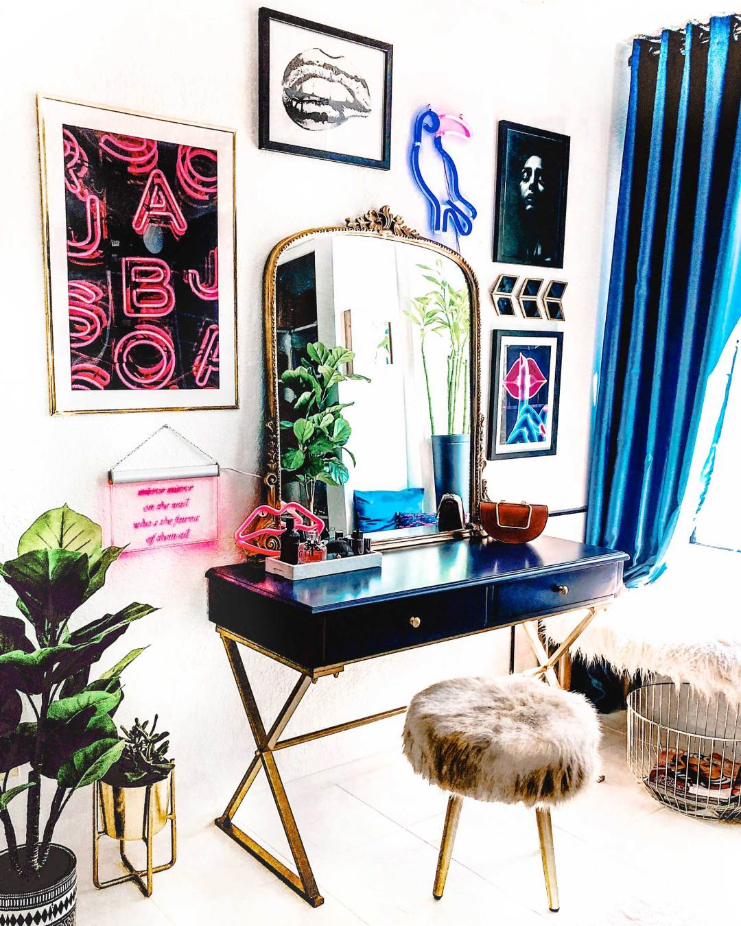 Vanity-Room-Modern Eclectic Vanity with Desenio | Free Phone and Desktop wallpapers download