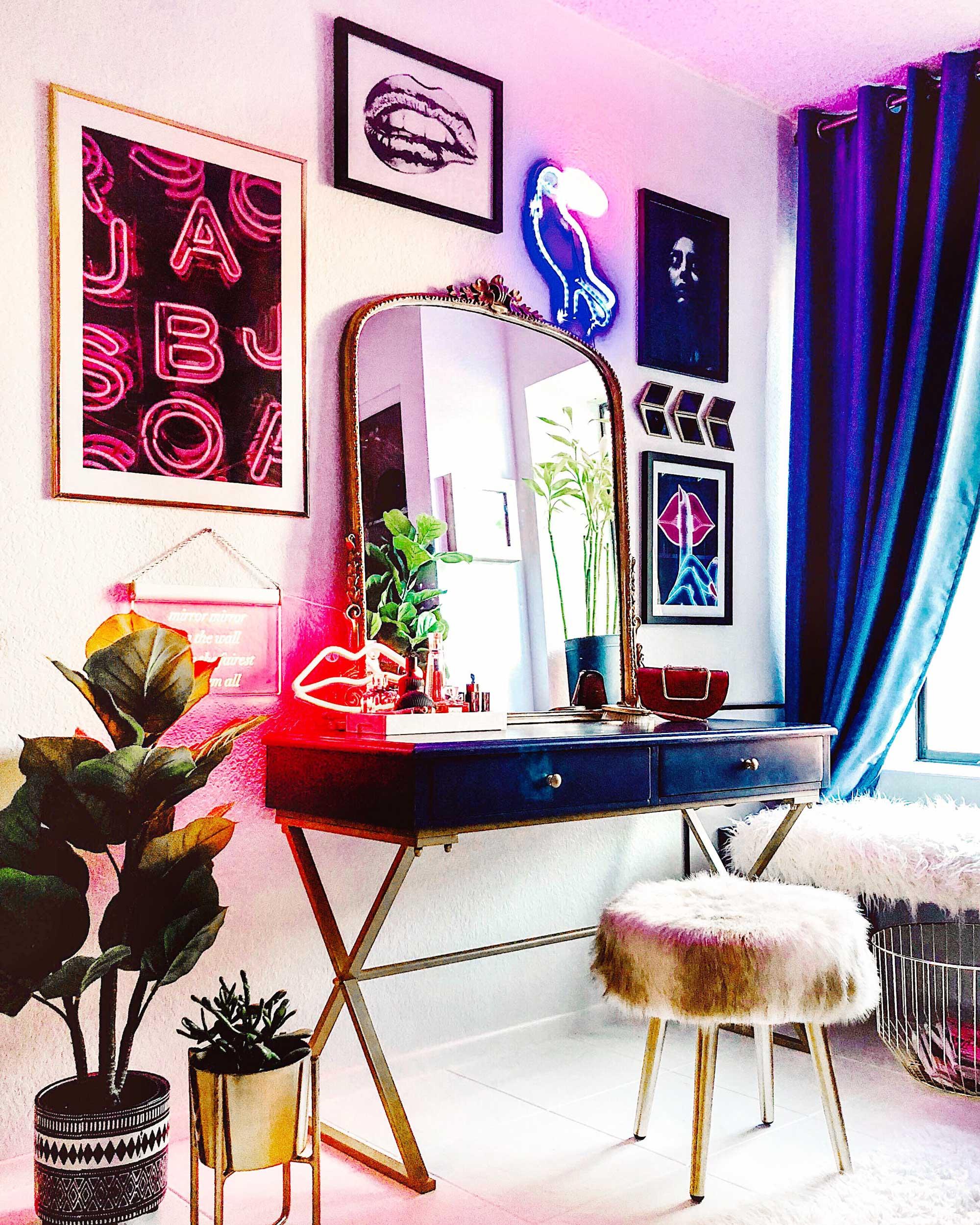 Vanity-room-decoration-idea-Modern Eclectic Vanity with Desenio | Free Phone and Desktop wallpapers download