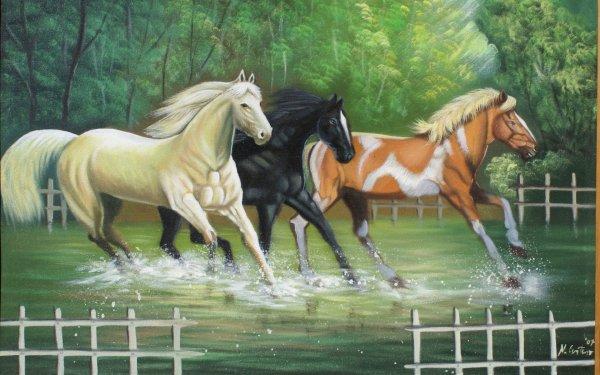 Desktop Beautiful Art Paintings Horses