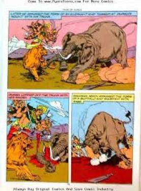 Durga killing asura