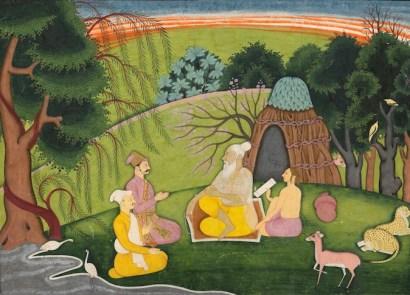 Sage Medhas instructing King Suratha and the merchant Samadhi
