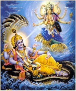 Vishnu waking from Yoga nidra
