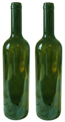 Two empty green wine bottles