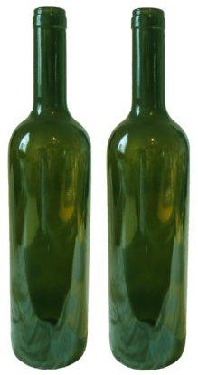 Two empty green wine bottles