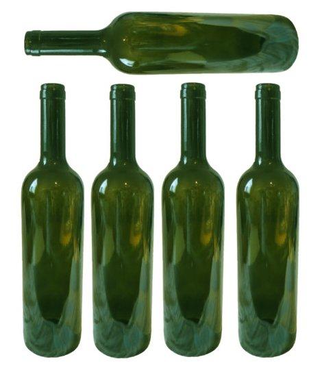 Five empty green wine bottles