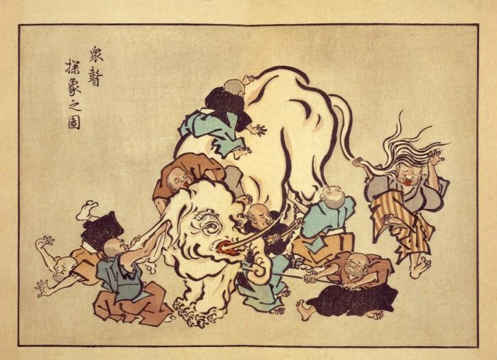 Blind monks examining an elephant