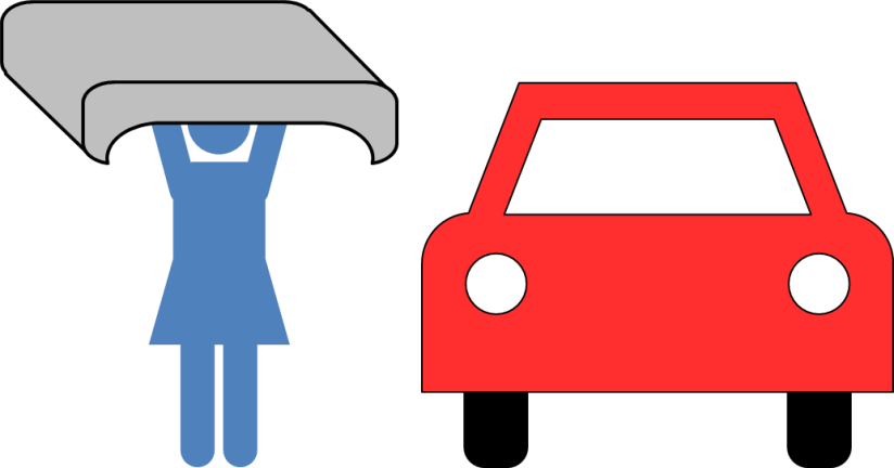 Woman with interior car roof