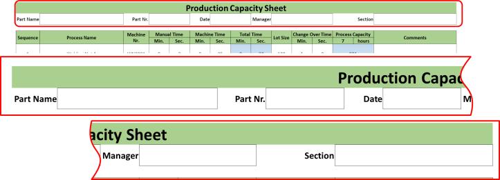 Production Capacity Sheet Header