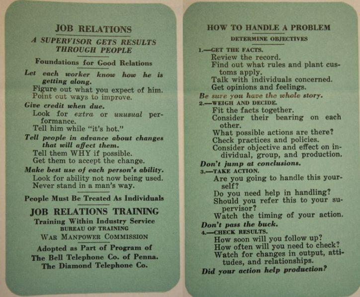 Job Relations Card