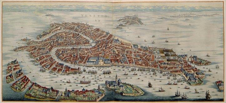 1724 Map of Venice by Joan Blaeu