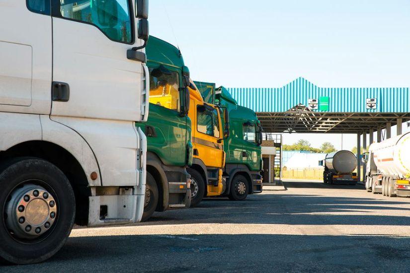 Trucks at Customs Border