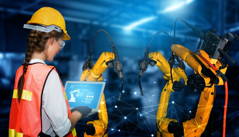 Futuristic Robot and Human