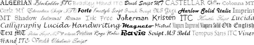 Decorative and Handwritten Font List