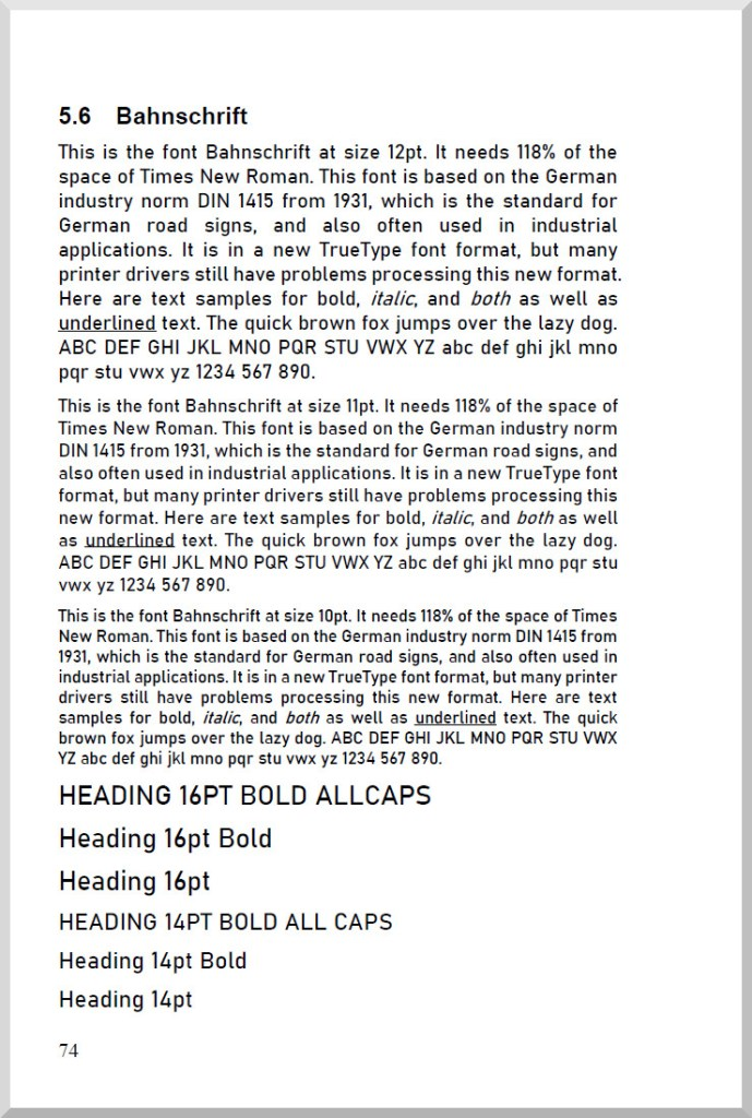 Sample Page Font Bahnschrift