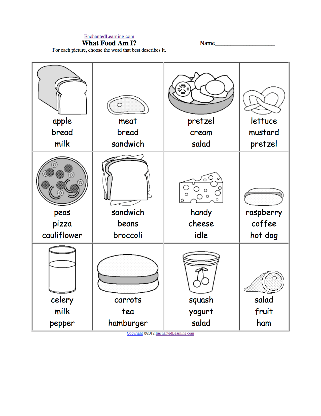 Food Multiple Choice Spelling Words At Enchantedlearning