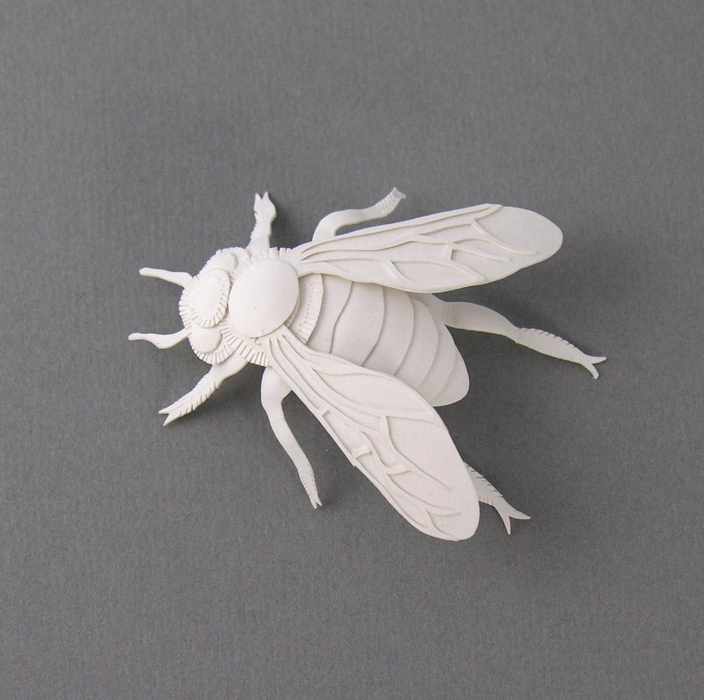 Miniature Bee. Paper Sculpture by Elsa Mora