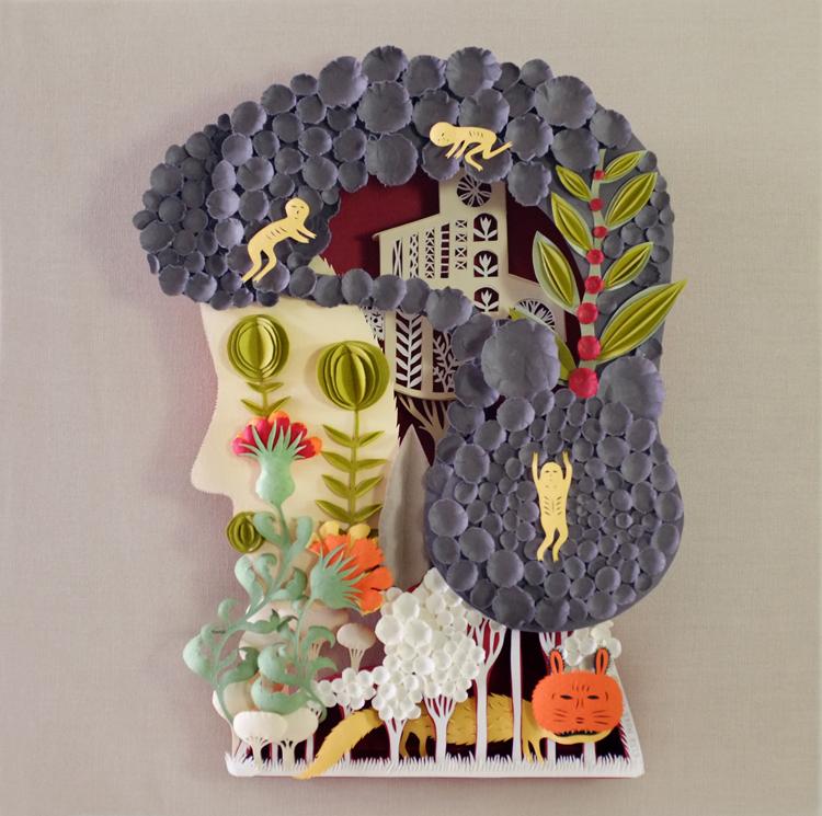 Head. Paper Sculpture by Elsa Mora
