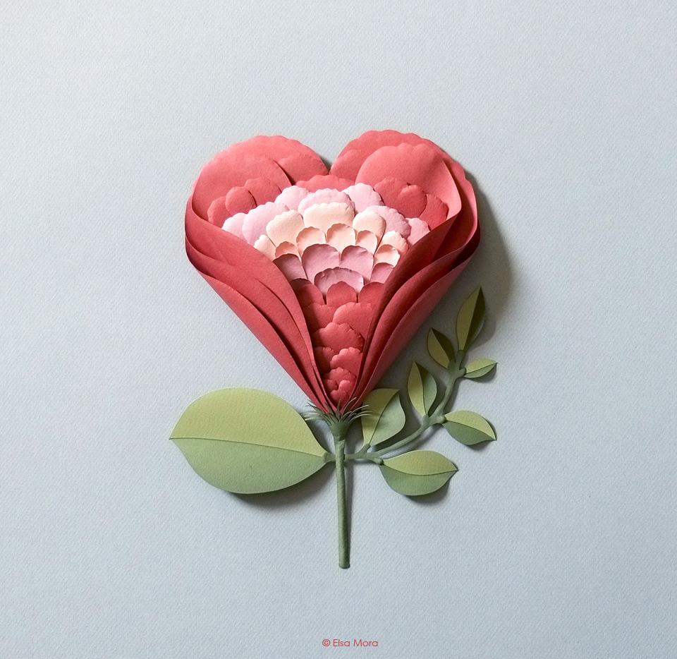 Flower/Heart Paper Sculpture.