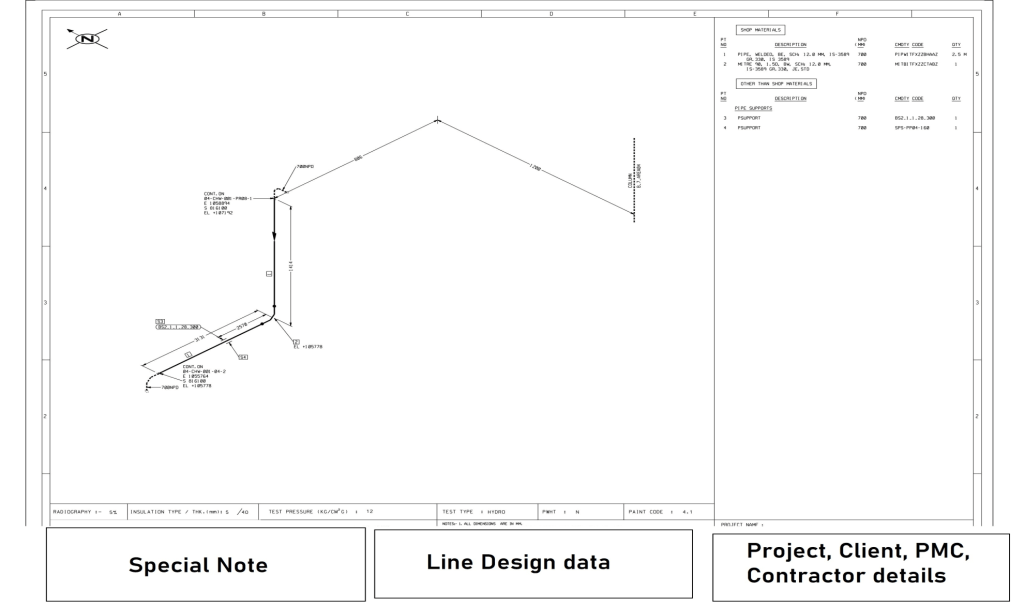 Sample piping isometric